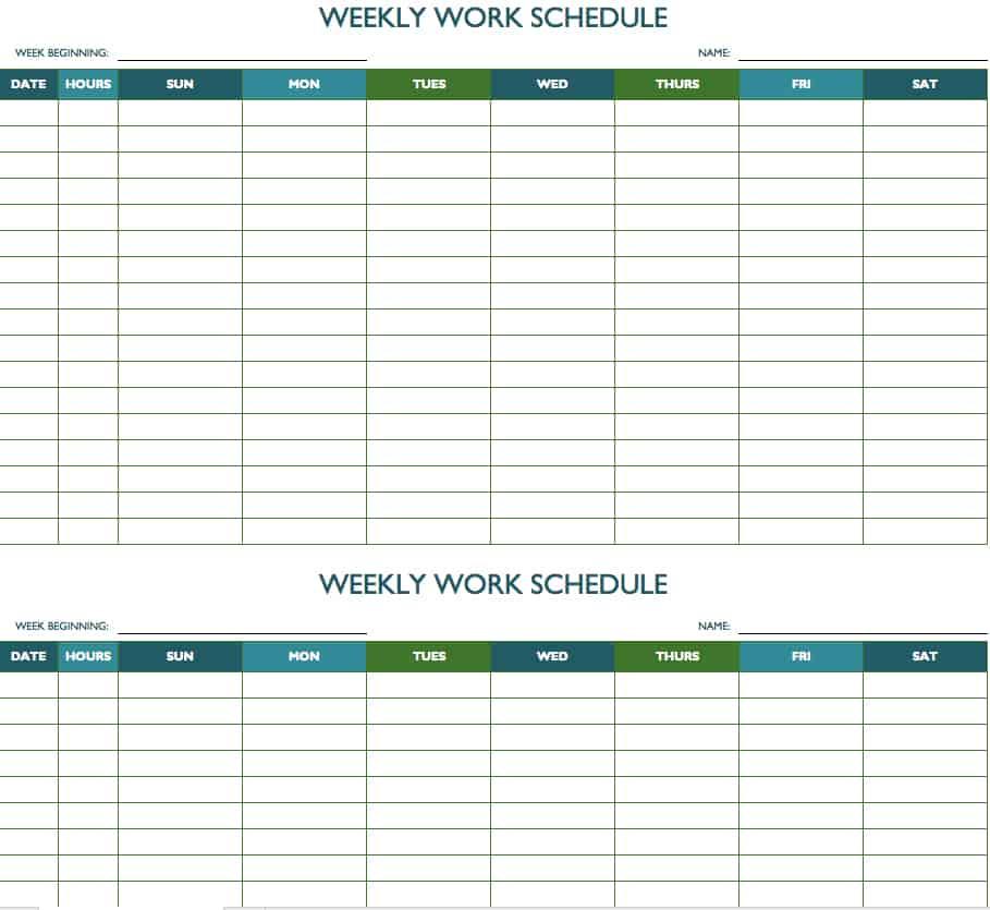 Sample, Example & Format Templates: Week Work Schedule