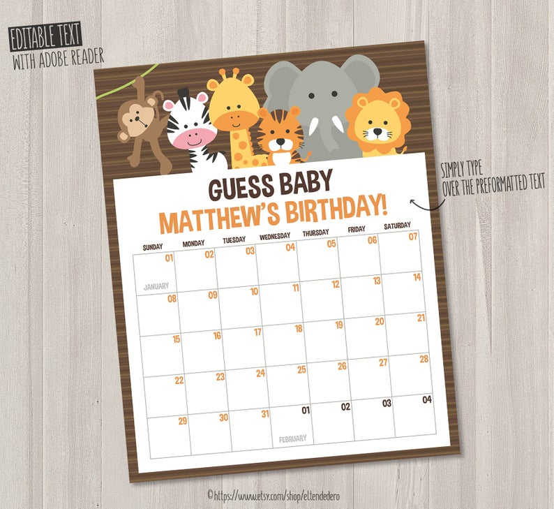 Self Editable Due Date Calendar Guess Baby Due Date Game