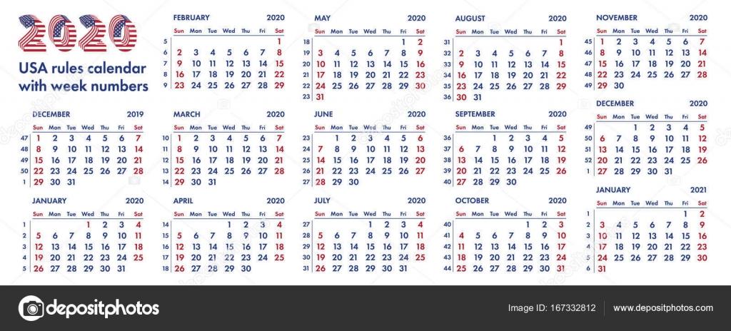 Semanas Del Calendario Americano De 2020 Vector