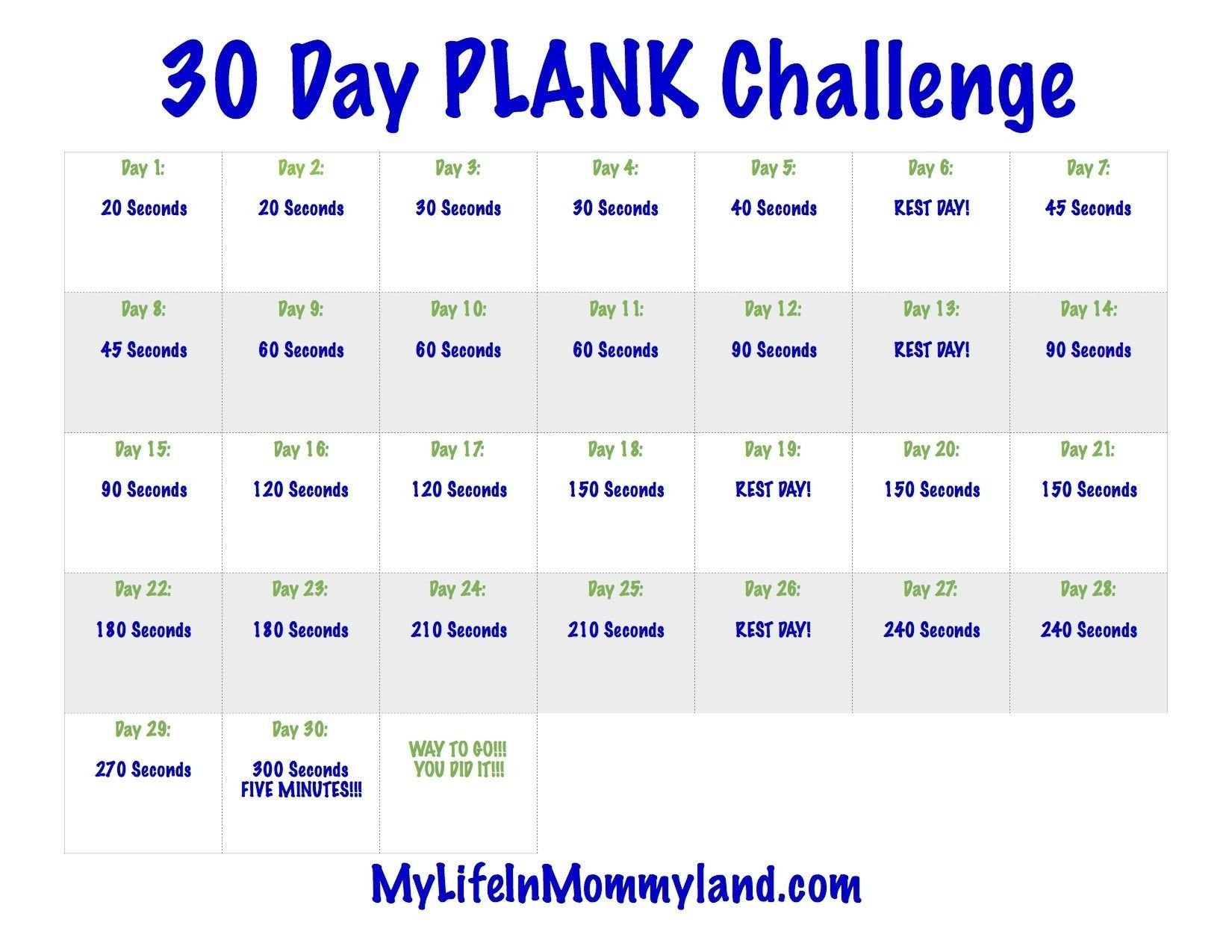 The 30 Day Plank Challenge Calendar | Get Your Calendar