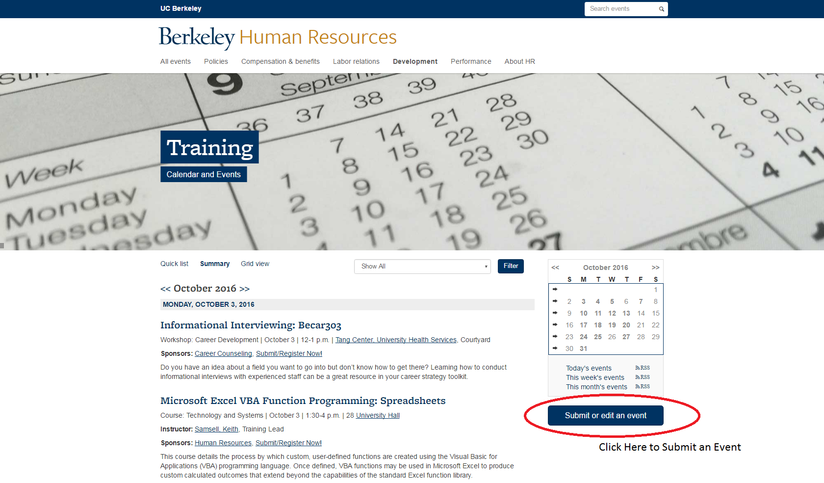 Training Events Calendar Instructions | People & Culture