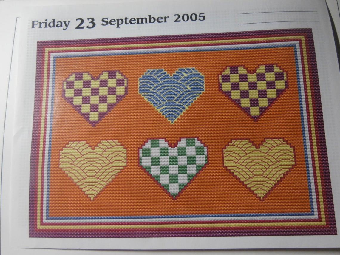 Unframed Handmade Calendar Hearts Cross Stitch Choose Your