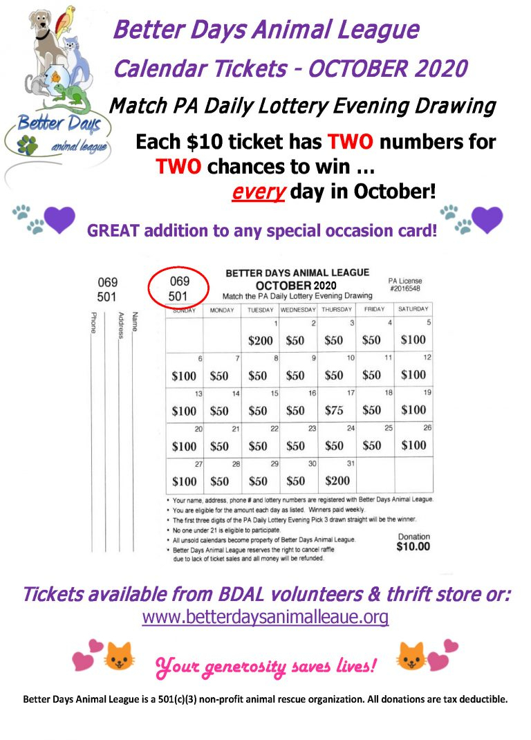 Upcoming Events - Calendar Lottery Raffle - Better Days