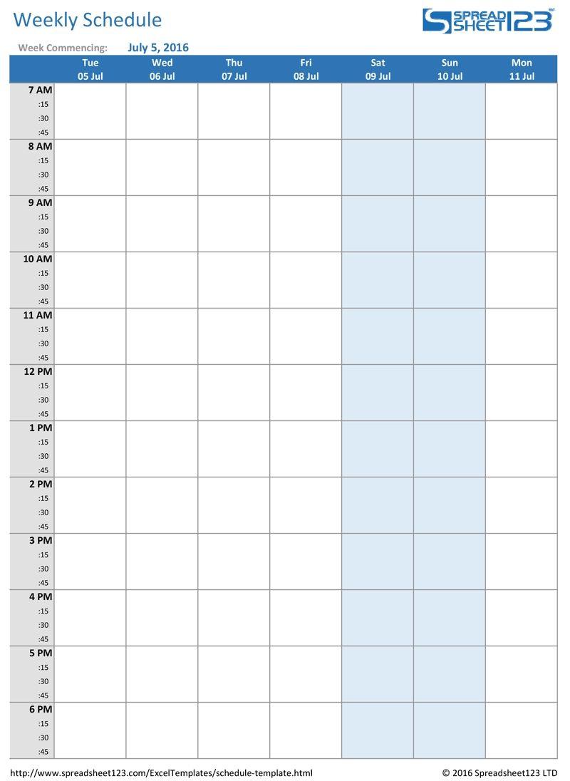 Week Calendar Hour Slots | Calendar Printables Free Templates