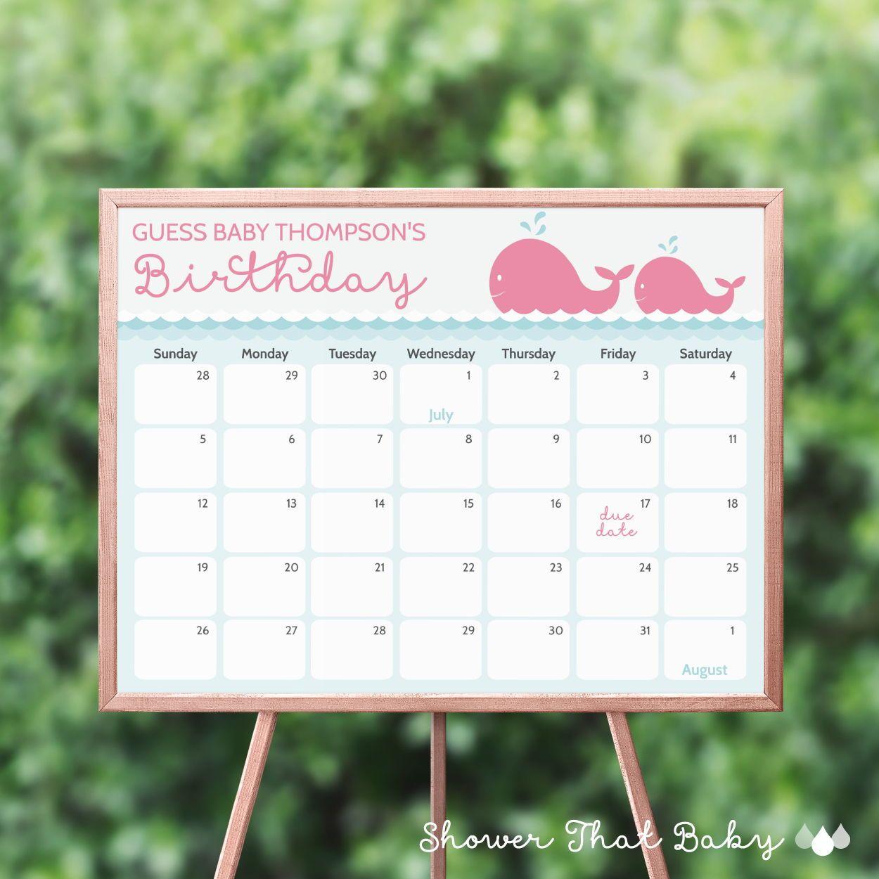 Whale Theme Baby Shower Birthday Predictions Calendar