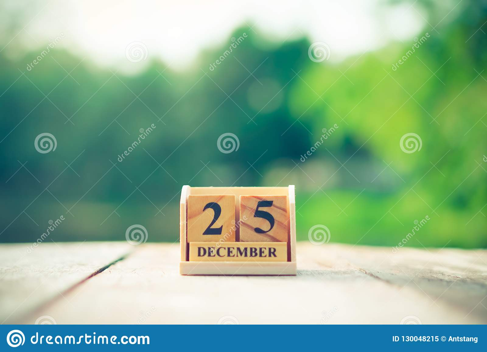 Wood Brick Block Show Date And Month Calendar Of 25Th