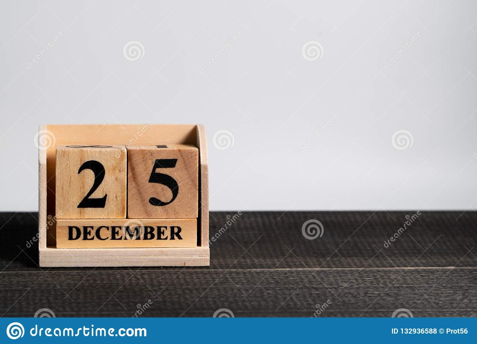 Wooden Block Calendar Set On The Christmas Date 25