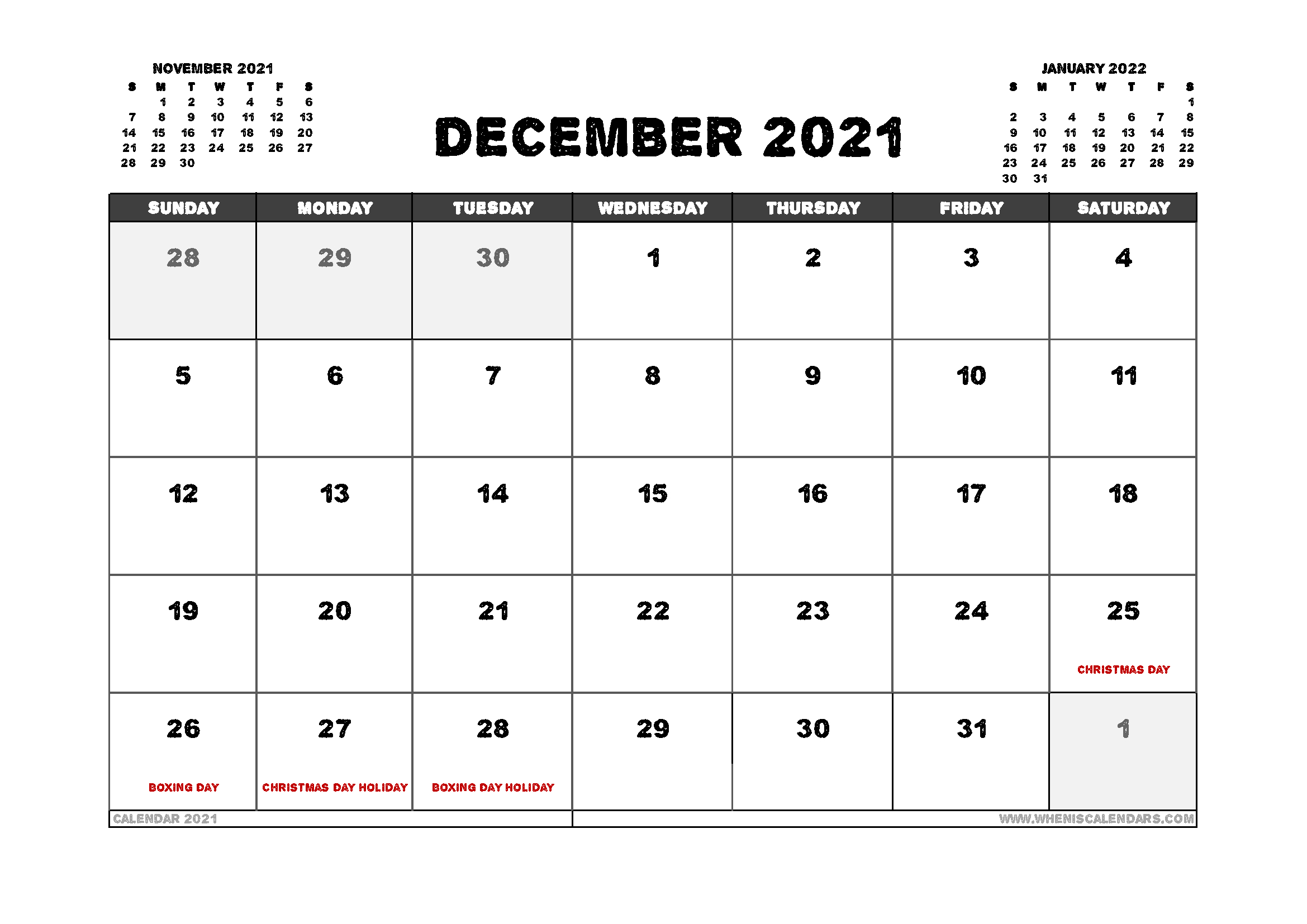 12 Month Free Printable 2021 Calendar With Holidays