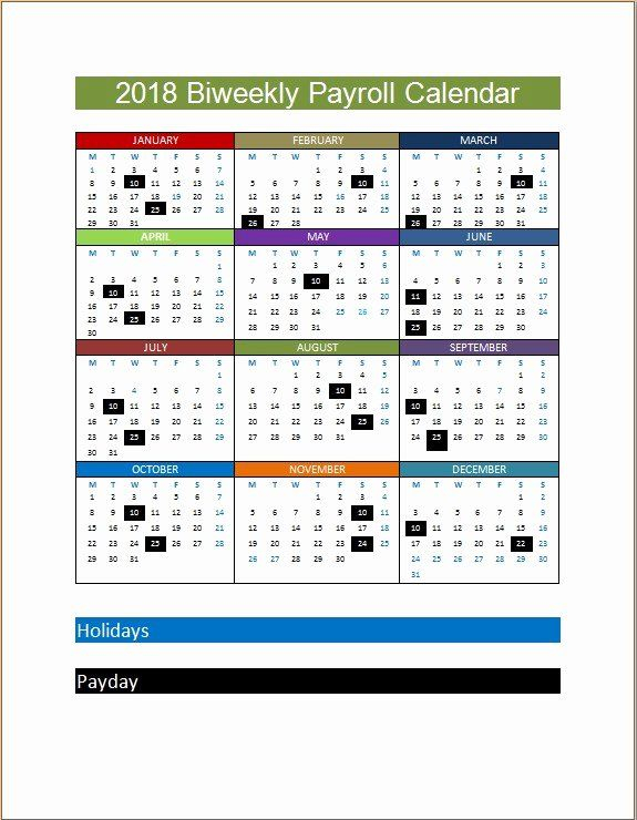 2019 Biweekly Payroll Calendar Template New 2018 Biweekly