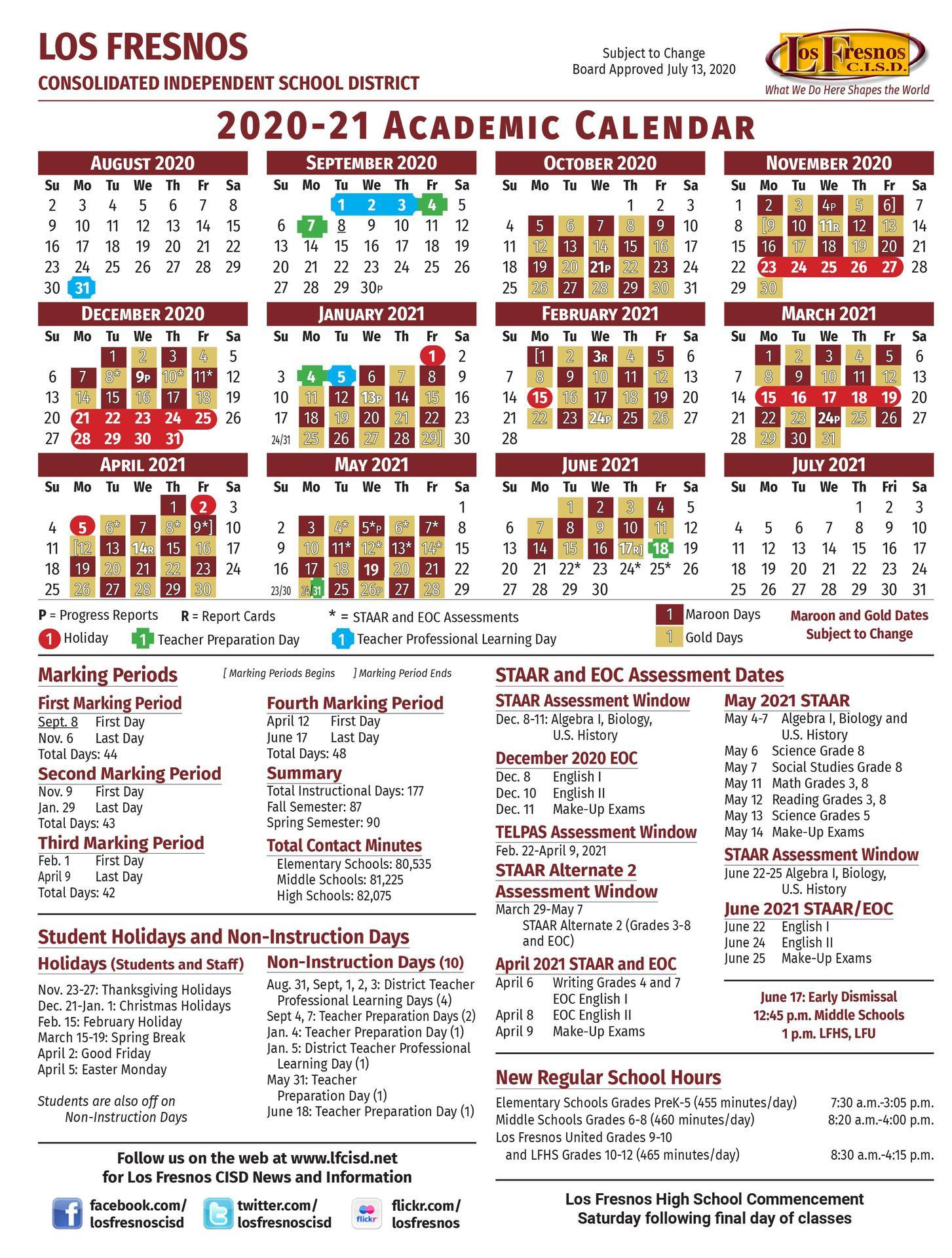 2020 - 2021 Academic Calendar - School Information - Los
