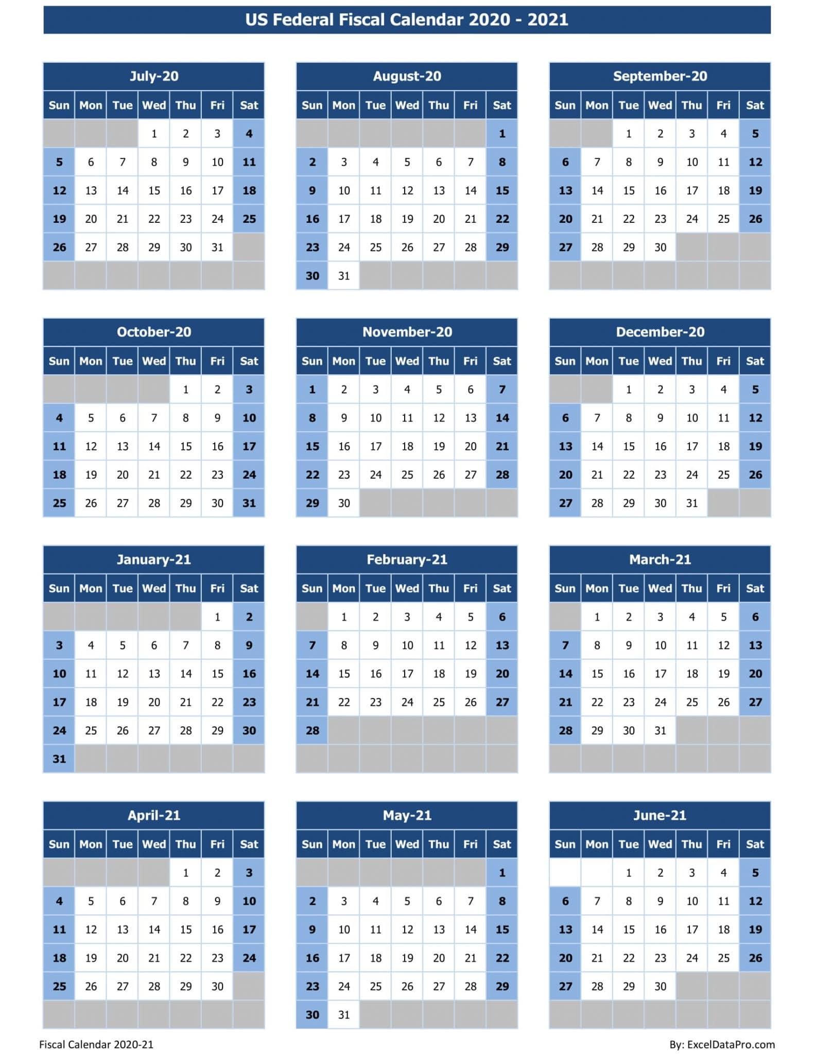 2020 2021 Fiscal Year Calendar   Printable Calendars 2021