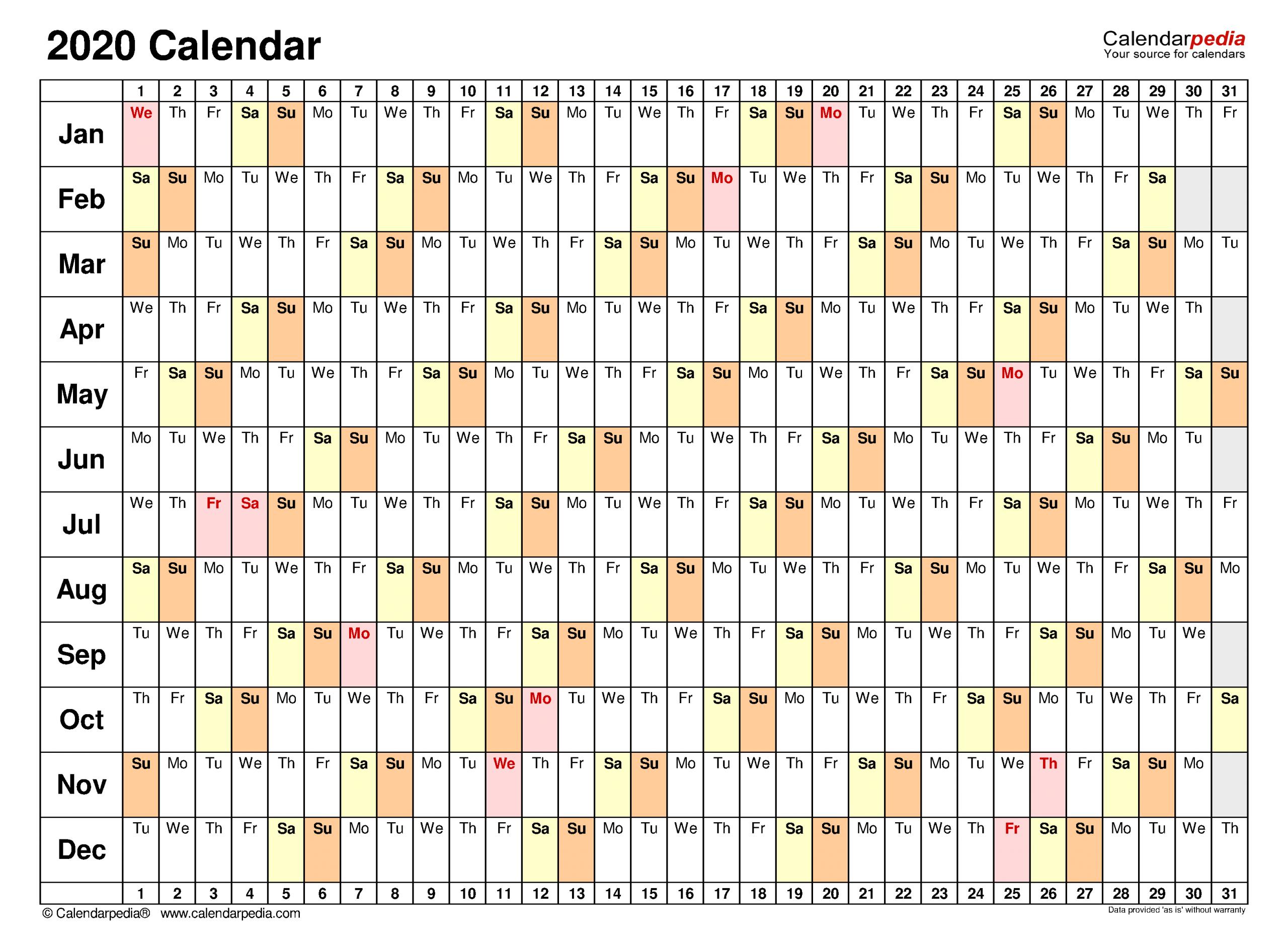2020 Calendar - Free Printable Pdf Templates - Calendarpedia