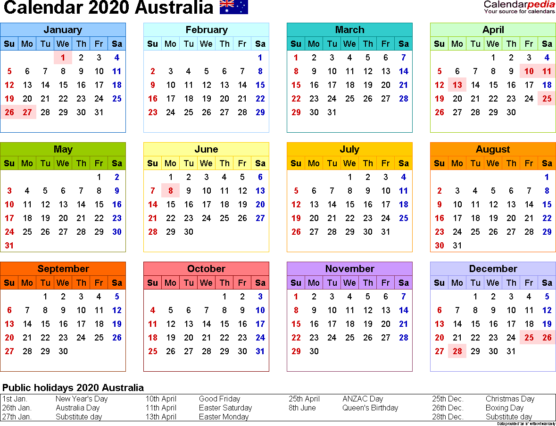 2020 Calendar Queensland   Free Printable Calendar