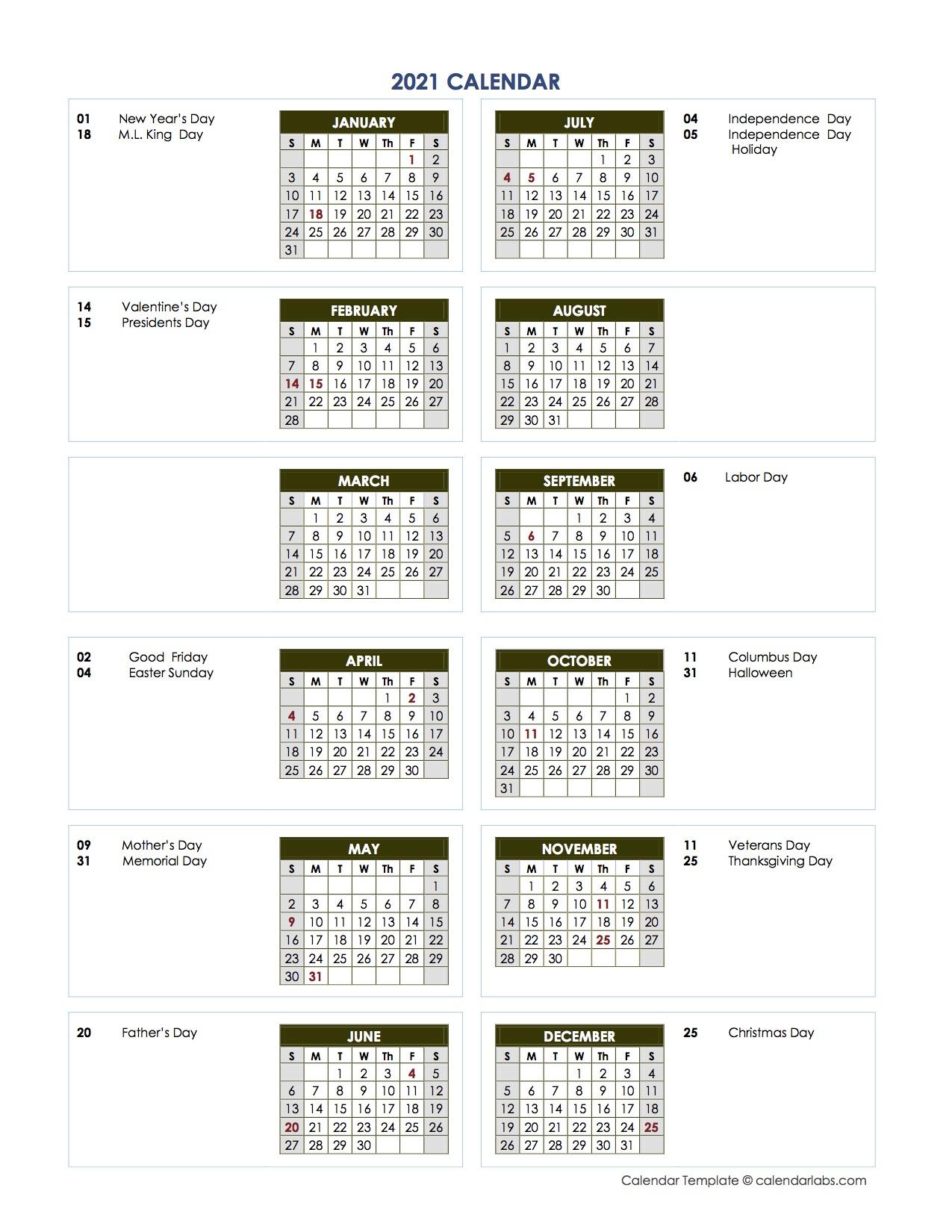 2021 Annual Calendar Vertical Template - Free Printable