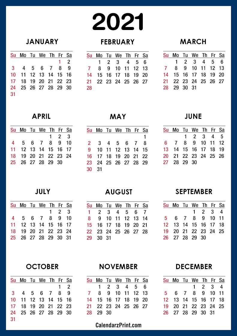 2021 Calendar Pdf - Printable, Blue, Ss - Calendarzprint