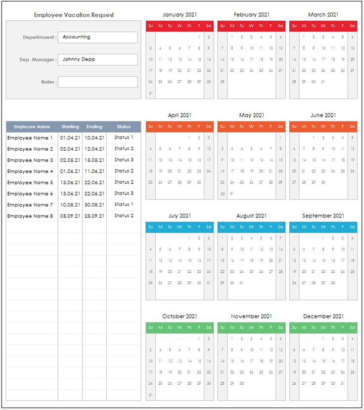 2021 Employee Vacation Request Excel Template Employee
