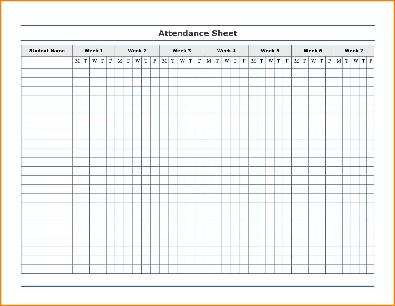 2021 Printable Free Attendance Tracker - Template Calendar