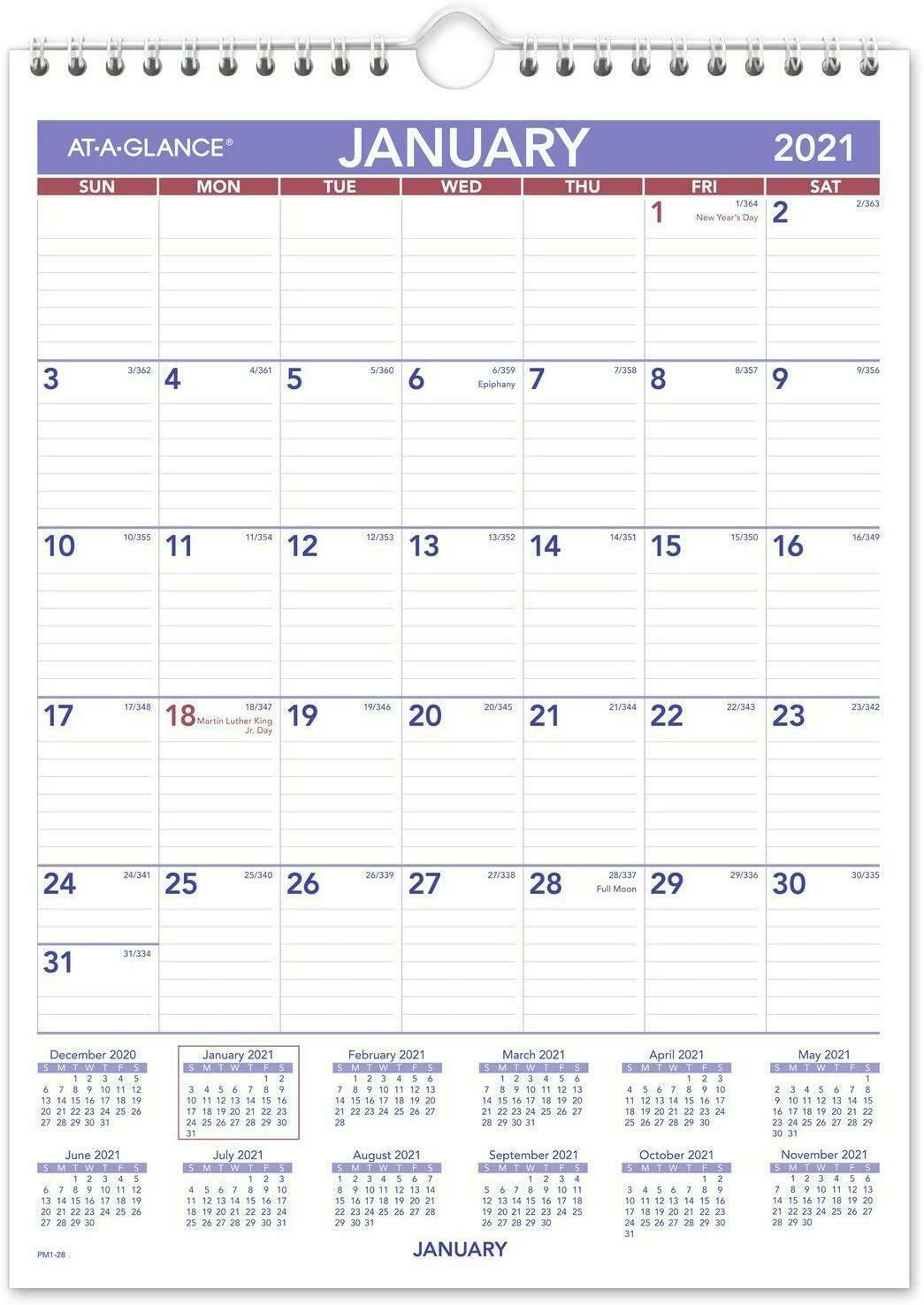 "2021 Wall Calendar 8"" X 11"" Mini Wirebound Pm12821 Keep"
