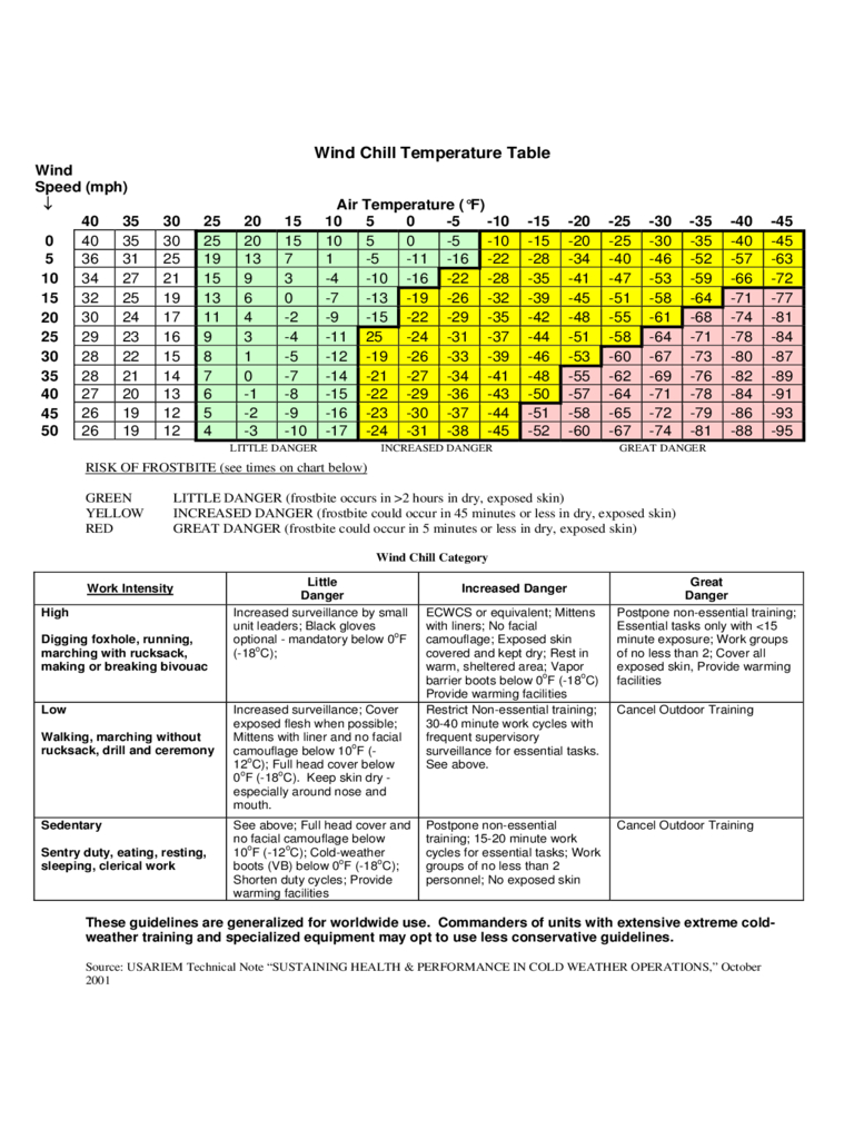 2021 Wind Chill Chart - Fillable, Printable Pdf & Forms