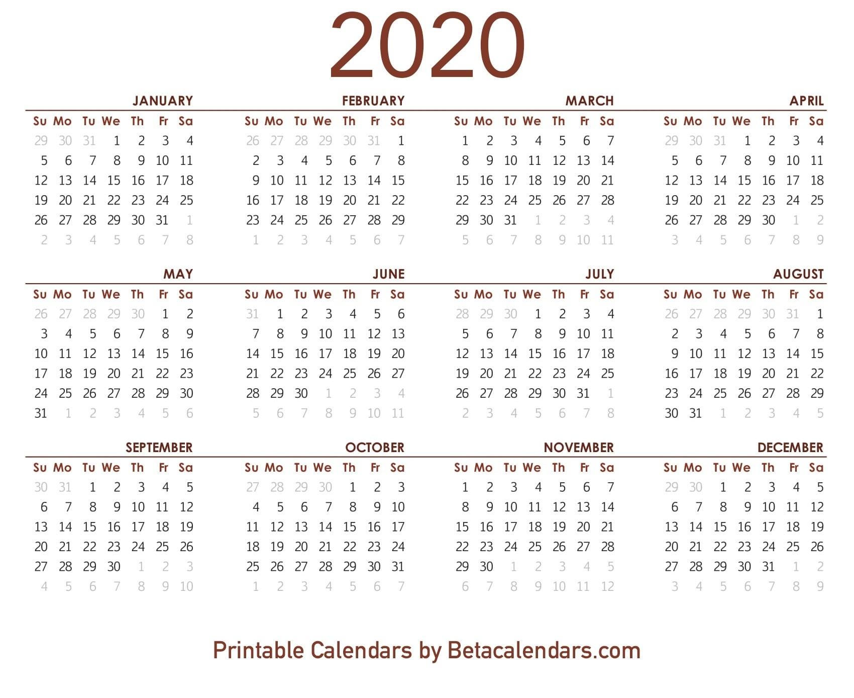 5 Day Blank Calendar 2020 | Free Calendar Template Example