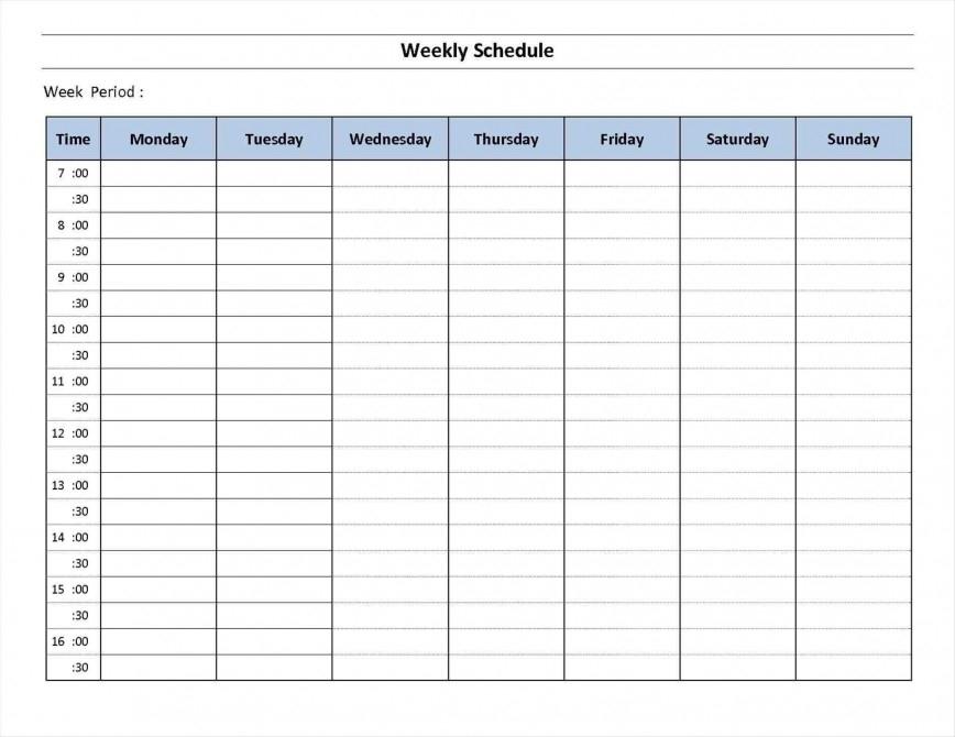7 Day Calendar Template ~ Addictionary