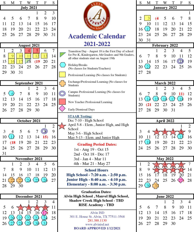 Alvin Isd Approves 2021-22 Academic Calendar | Del Bello Lakes