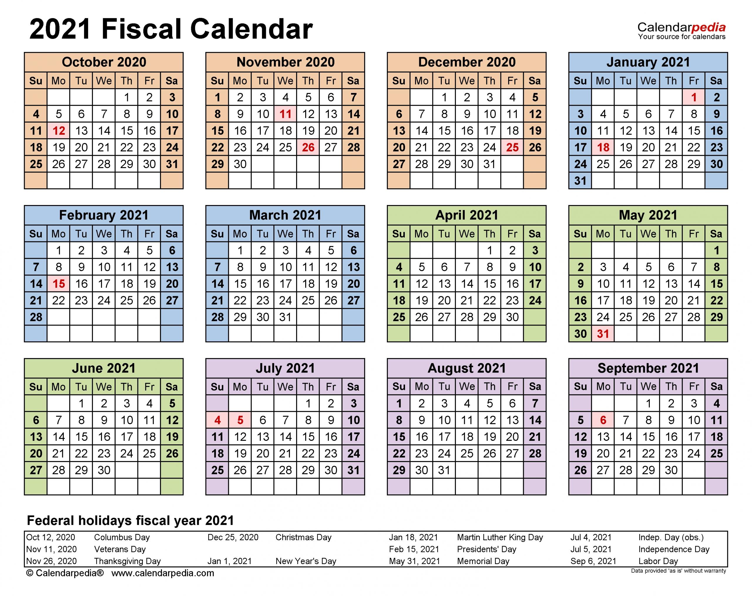 Australian Fiscal Year 2021 - Template Calendar Design
