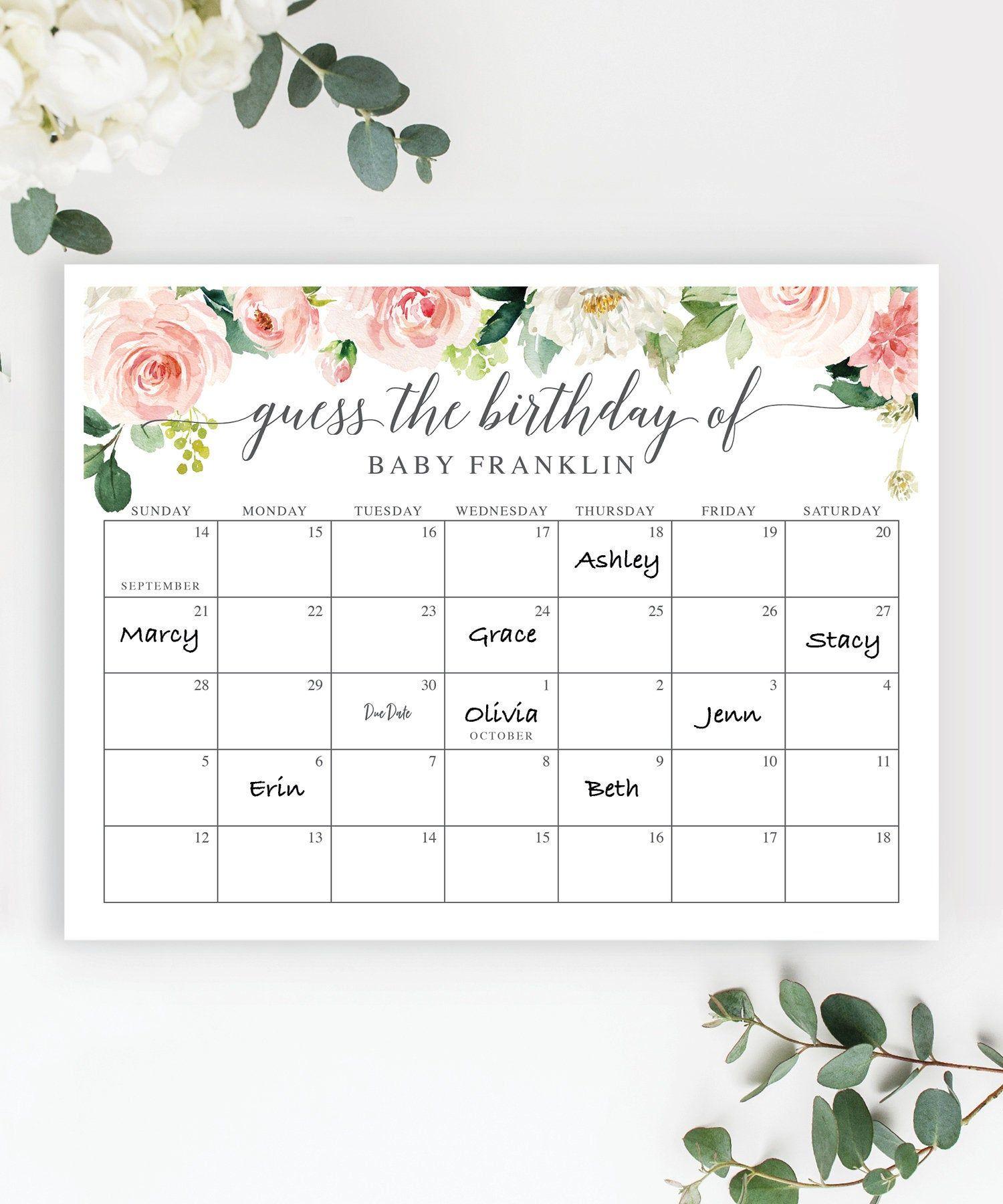 Baby Due Date Calendar Baby Shower Birthday Prediction