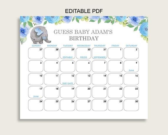 Baby Guess Birthday Free Printable   Calendar Template 2021