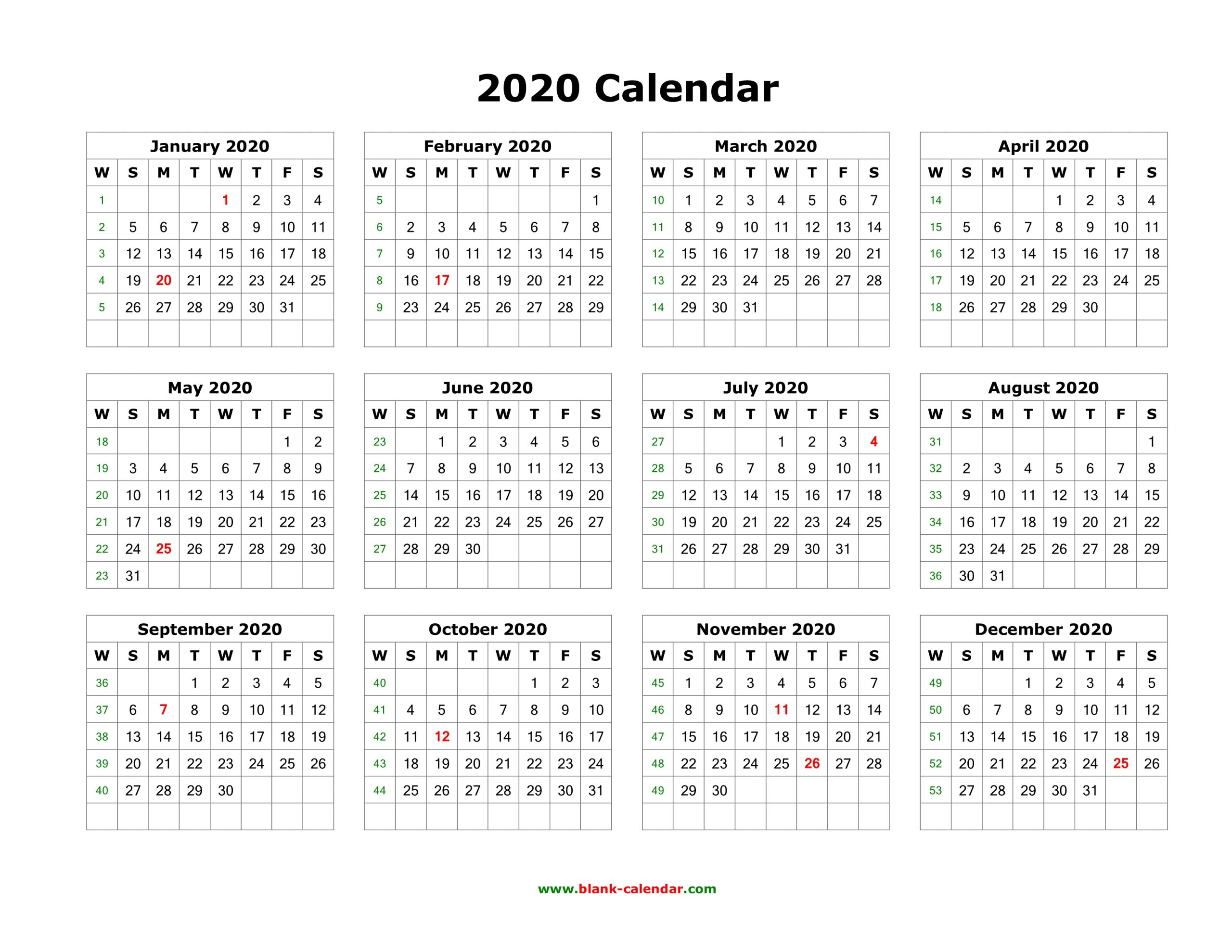 Best Templates: Printable Calendar 2020 Yearly