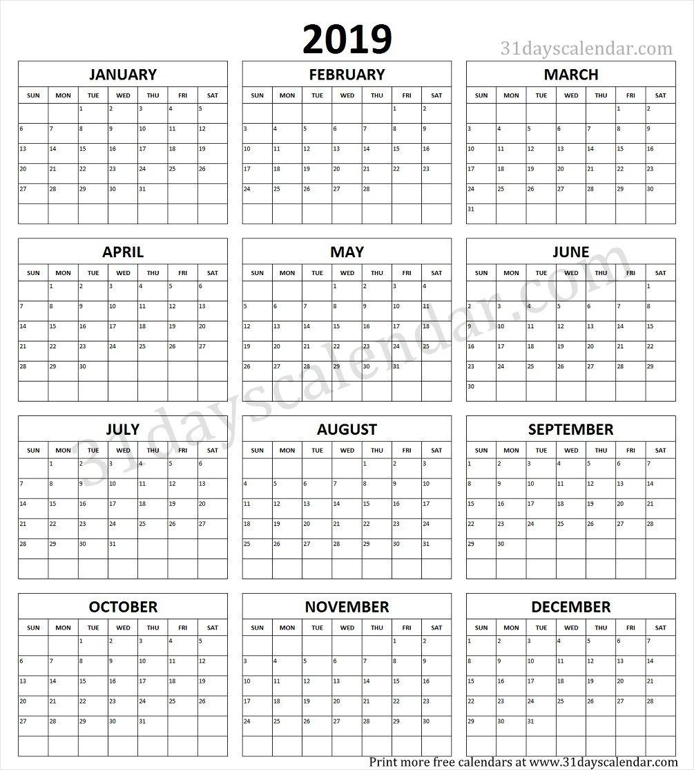 Calendar Yearly Printable