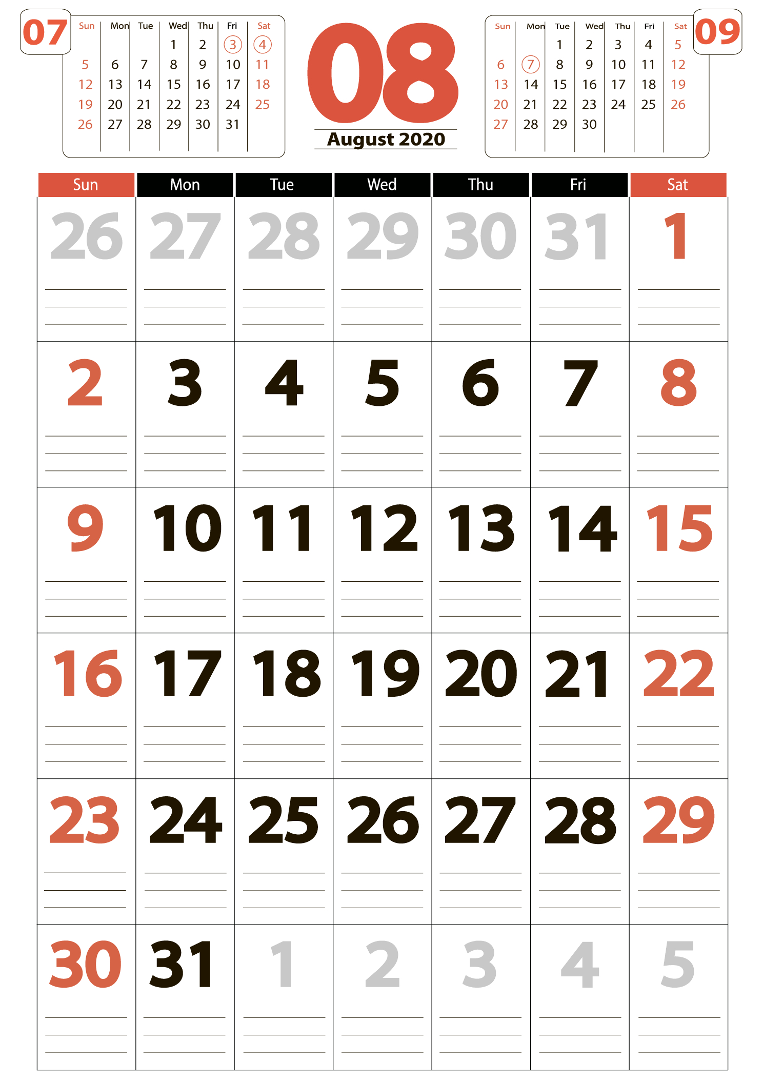 Download August 2020 Calendar - United States