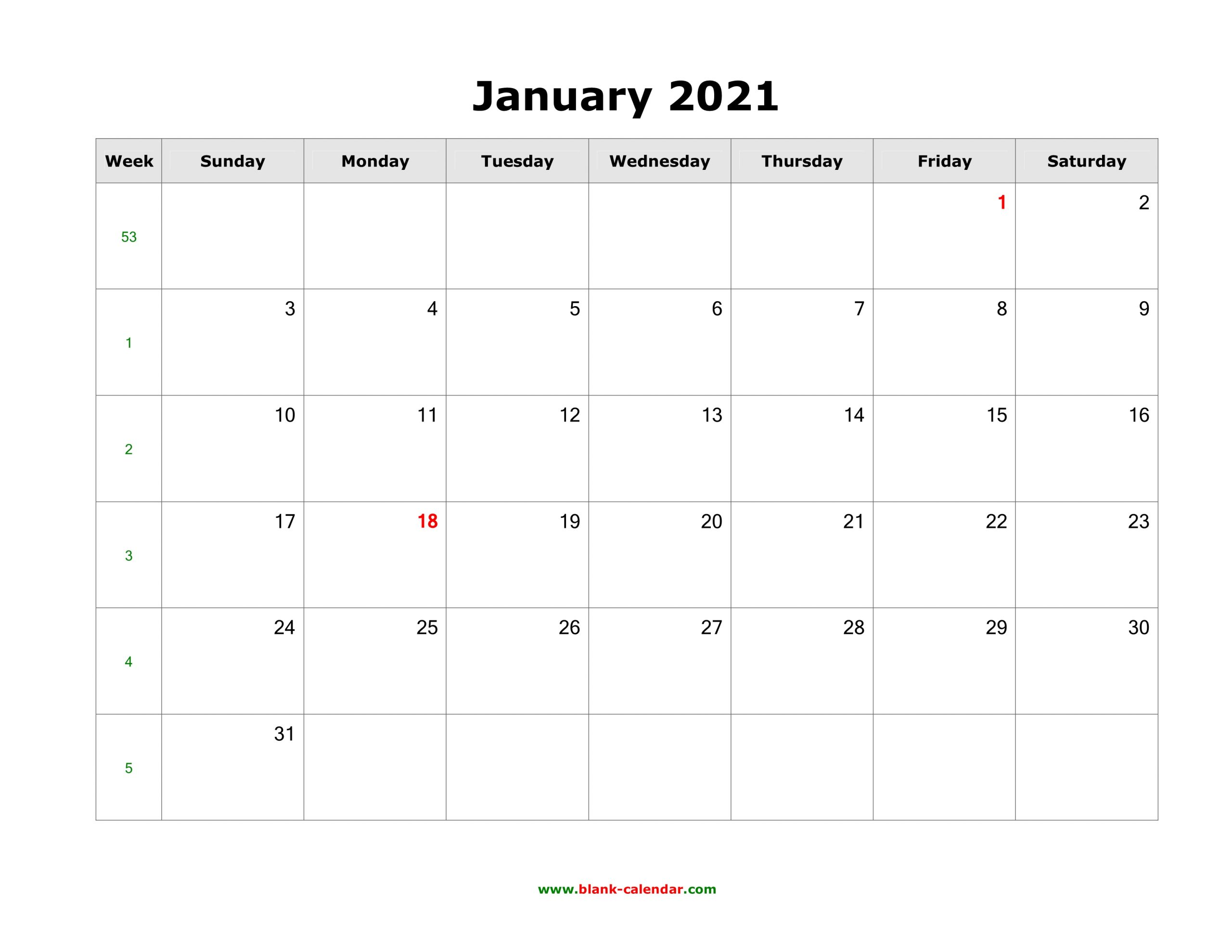 Download Blank Calendar 2021 (12 Pages, One Month Per Page