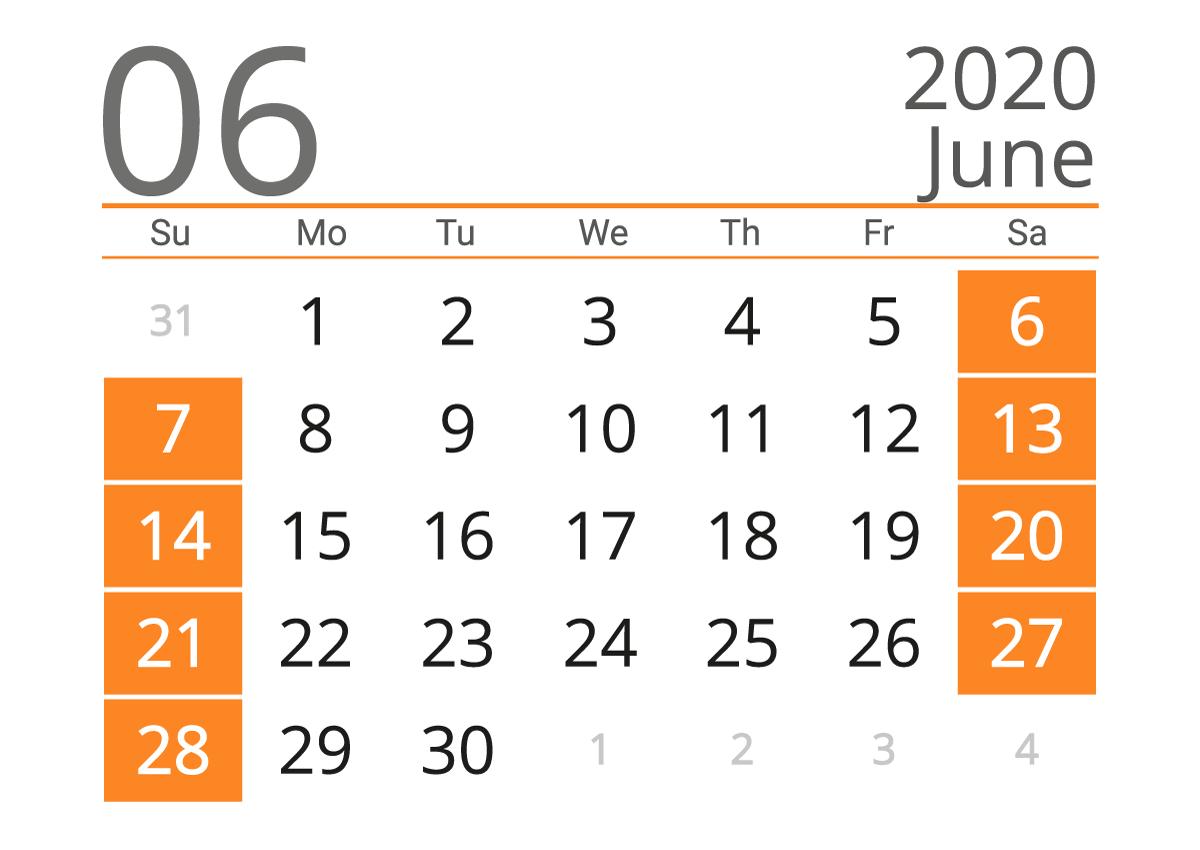 Download June 2020 Calendar - United States