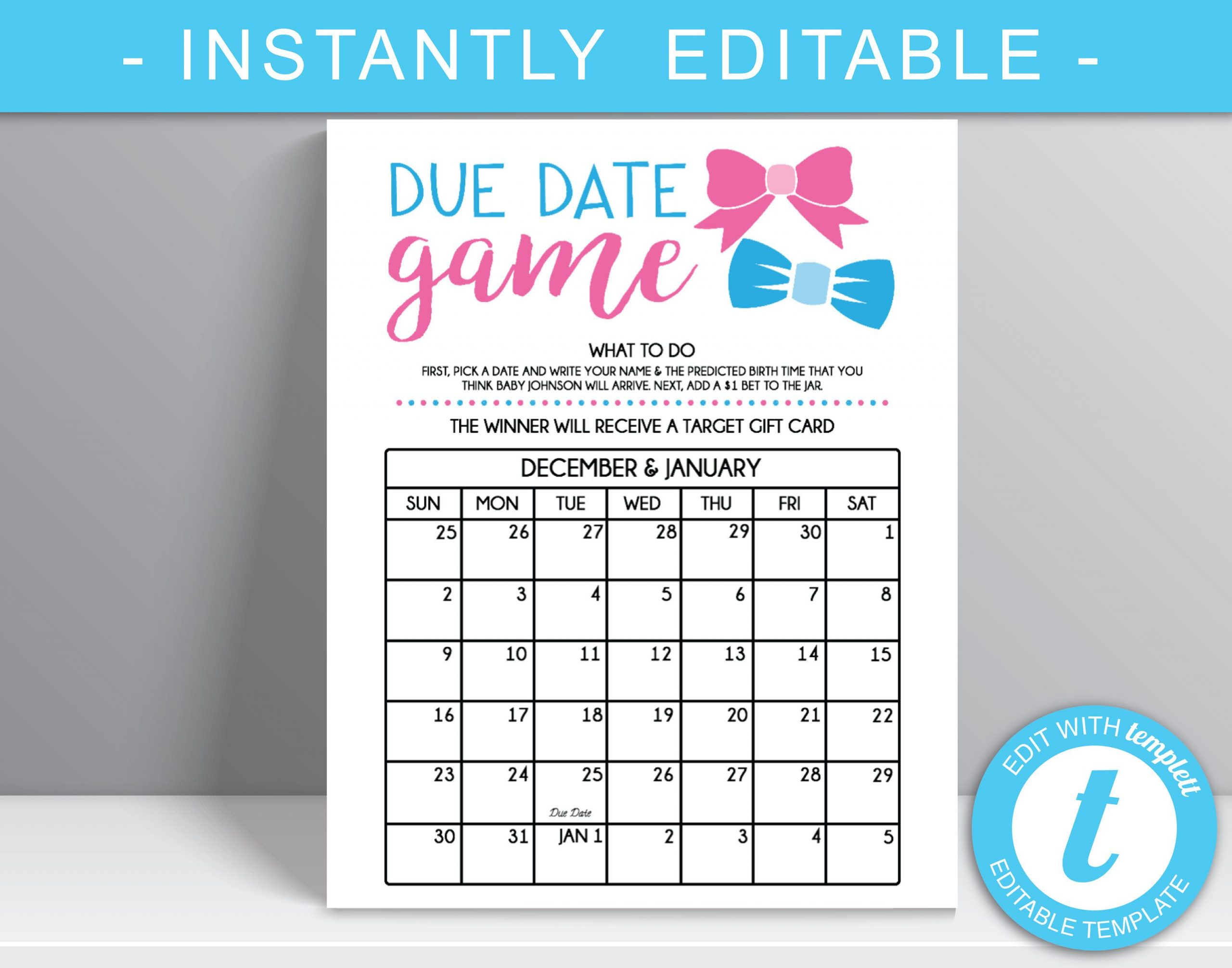 Due Date Game 16X20 Poster File Gender Reveal Party Guess