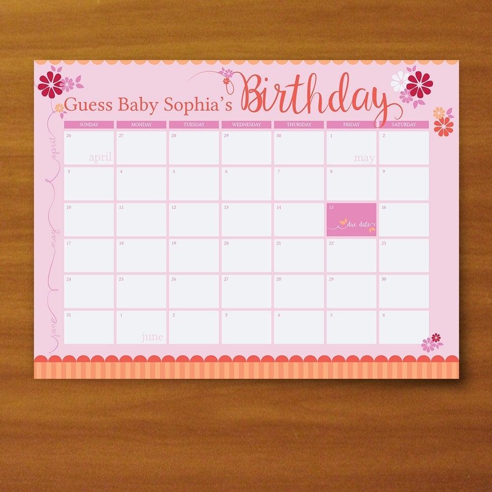 Due Date Guess Calendar   Printable Calendar Template 2021