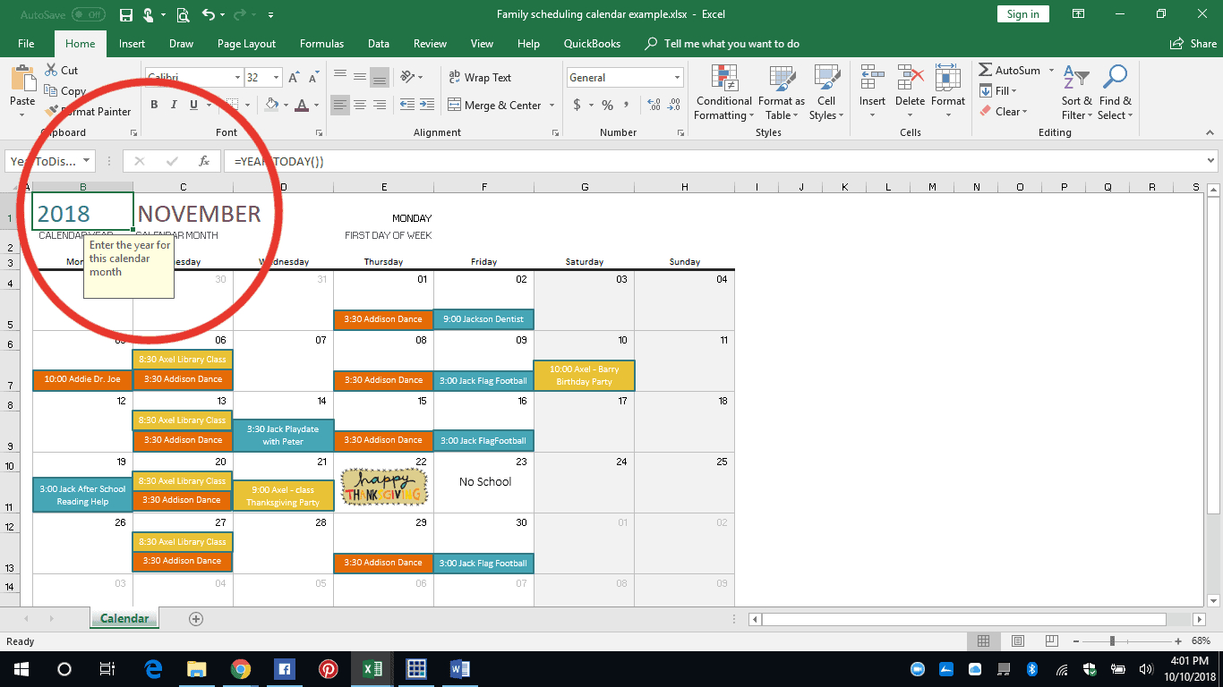 Easy Excel Diy Family Calendar - Our Re-Purposed Home