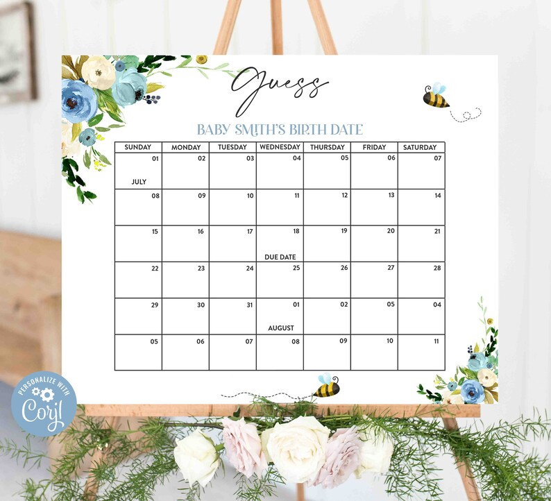 Editable Baby Due Date Calendar Game Baby'S Birth Date | Etsy