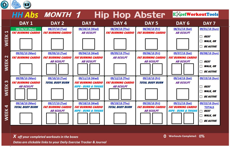 Excel Spreadsheet Workout Calendar & Tracker Tool For Hip