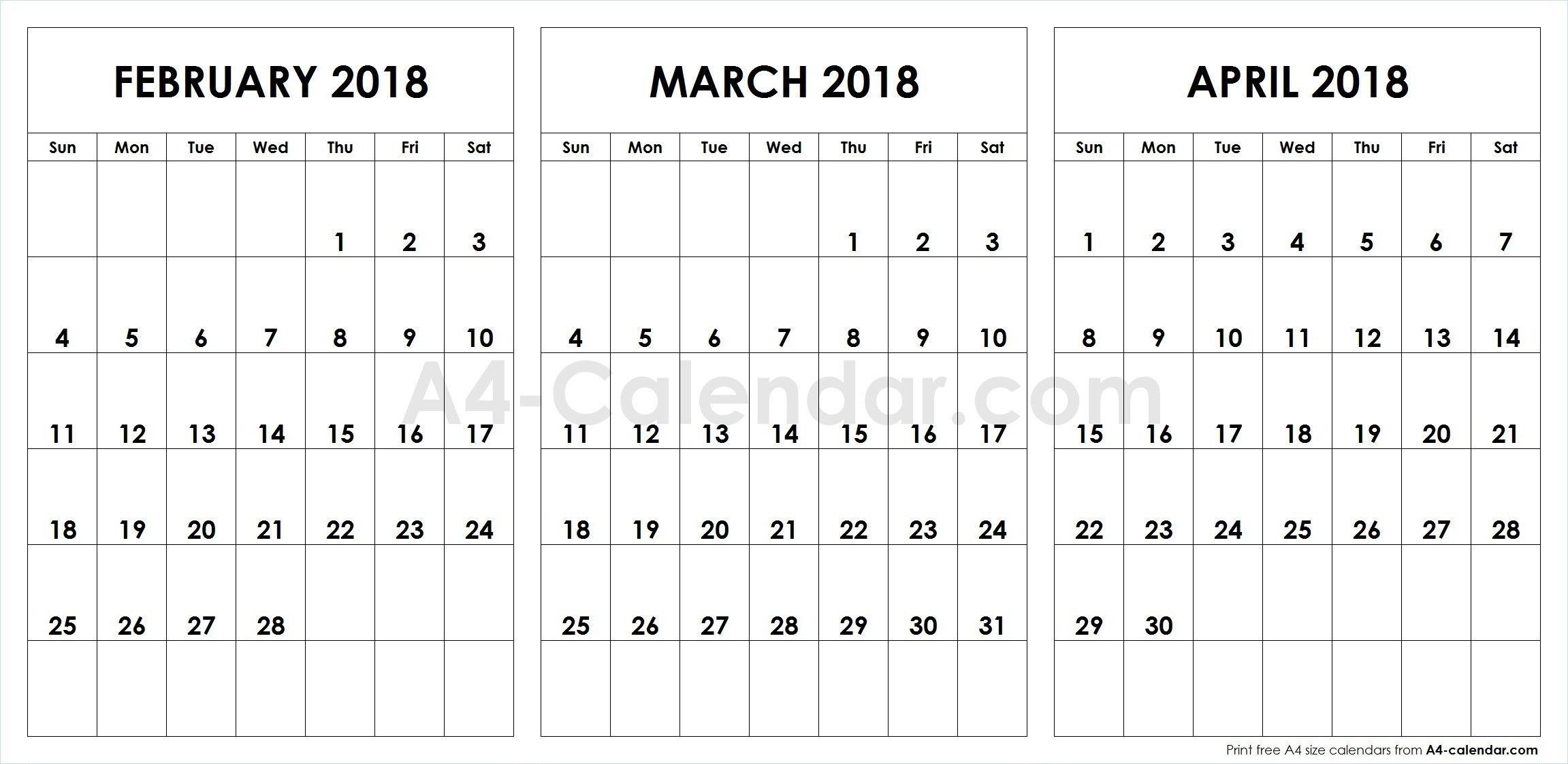 February March April Calendar 2018 Qualads 3 Month
