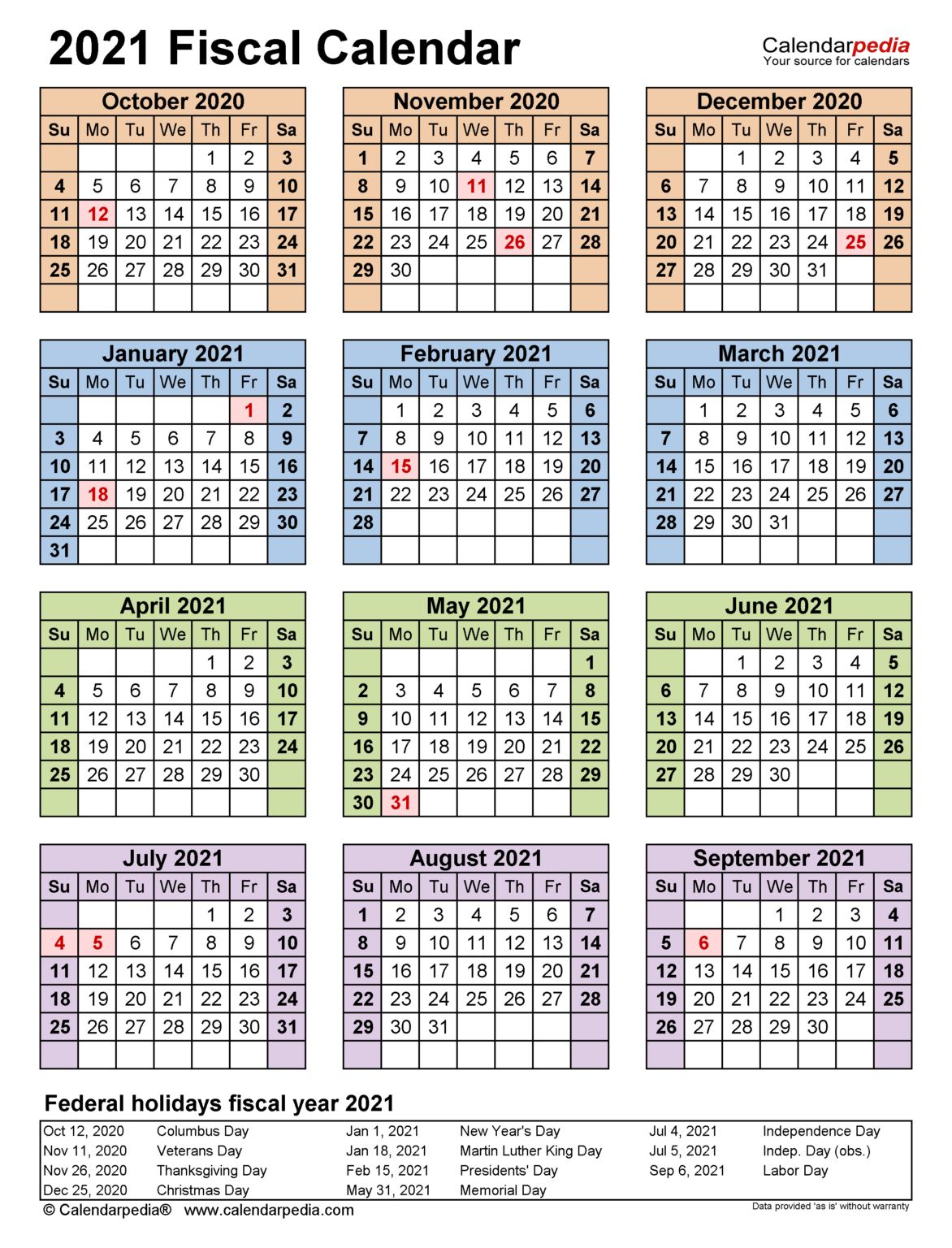 Fiscal Calendars 2021 - Free Printable Pdf Templates In