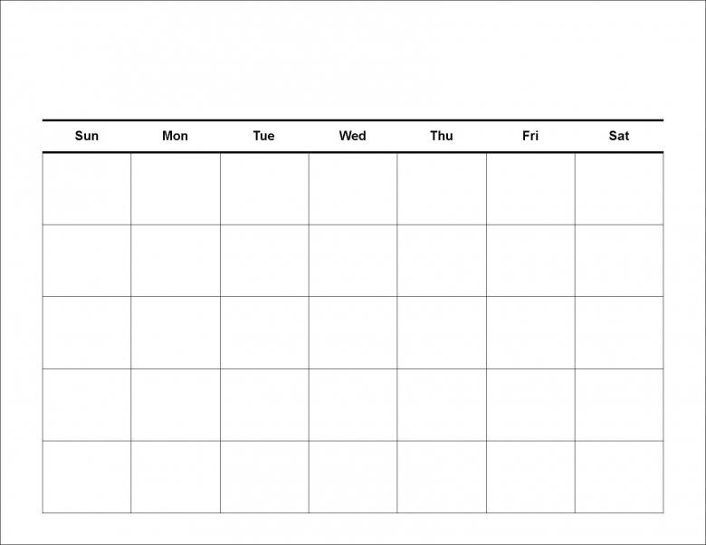 Four Week Generic Calendar :-Free Calendar Template