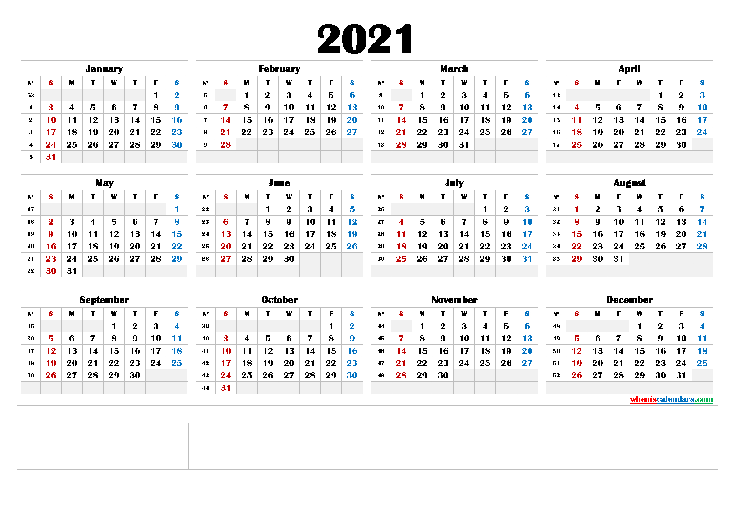Free 2021 Yearly Calender Template - Free Printable