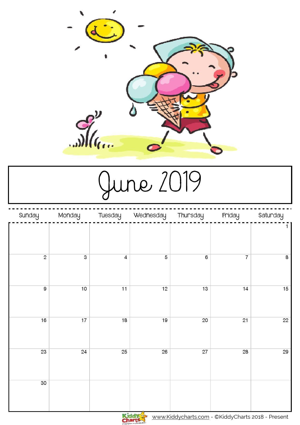 Free Printable 2019 Calendar - Print Yours Here | Home | Kids Calendar, June 2019 Calendar