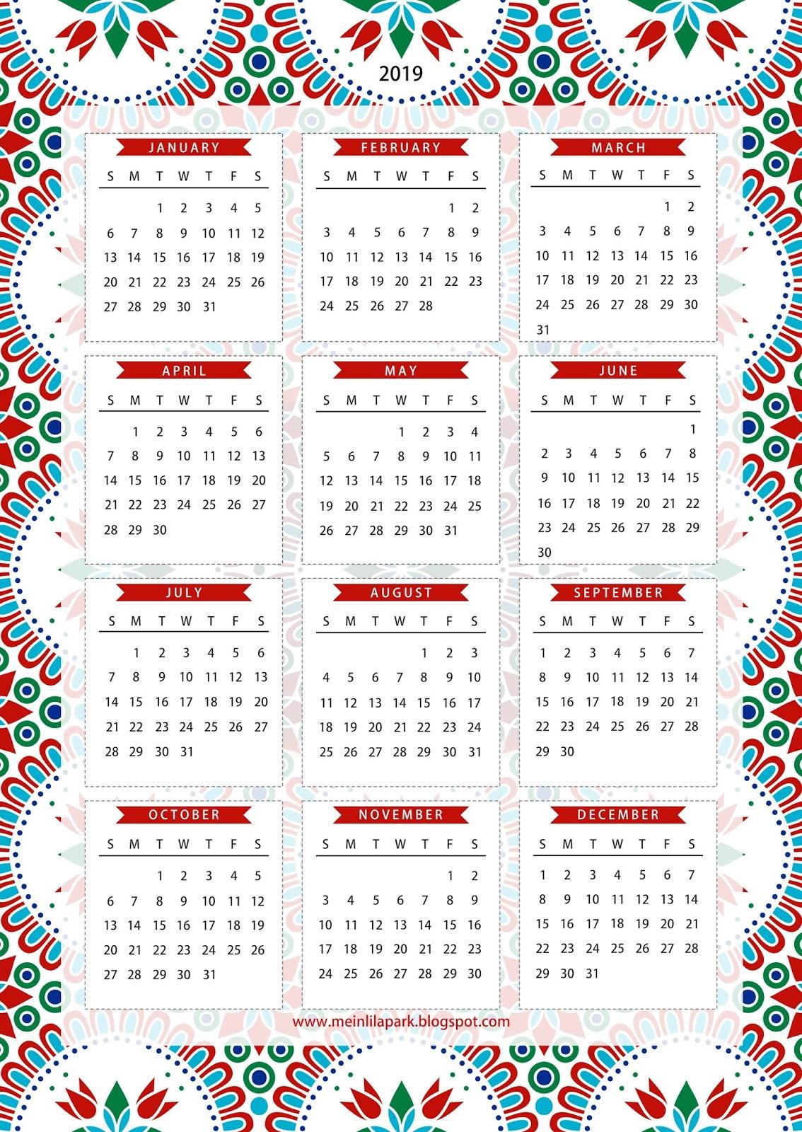 Free Printable 2019 One Page Calendar - Kalender - Freebie