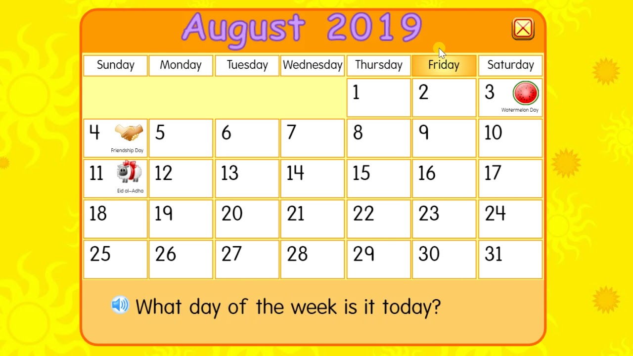 Friday, August 9, 2019 | Daily Calendar For Kids