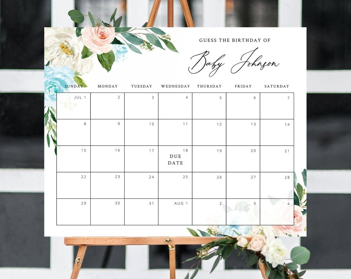 Guess The Baby Birth Date   Calendar Template 2020