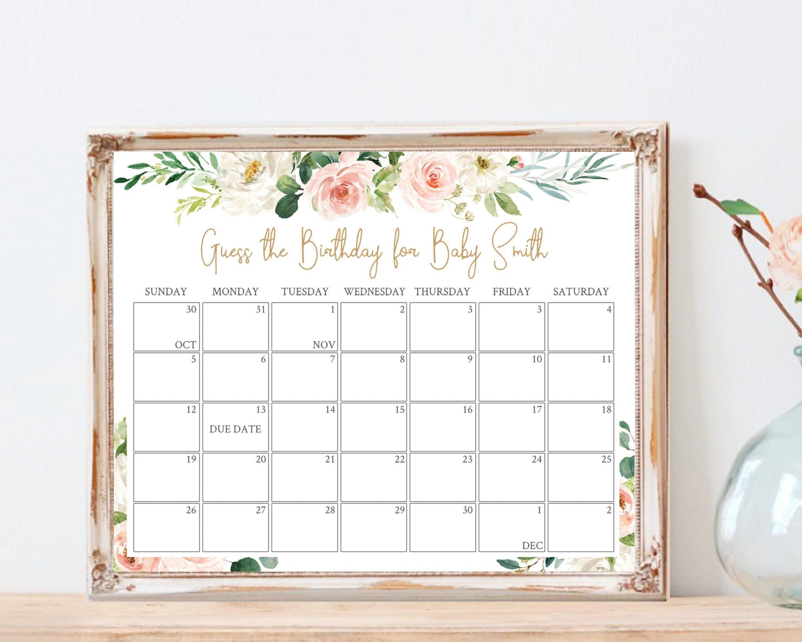 Guess The Due Date Calendar :-Free Calendar Template