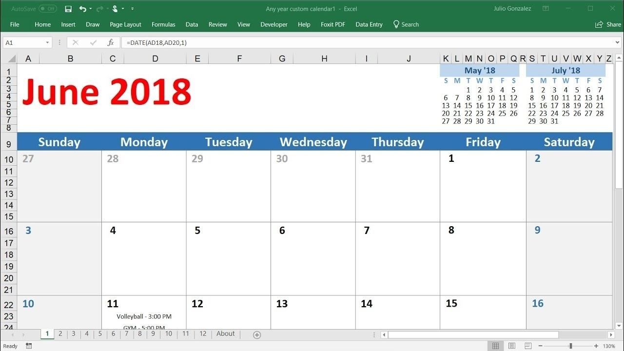 How To Insert Calendar In Excel | Calendar Template 2021