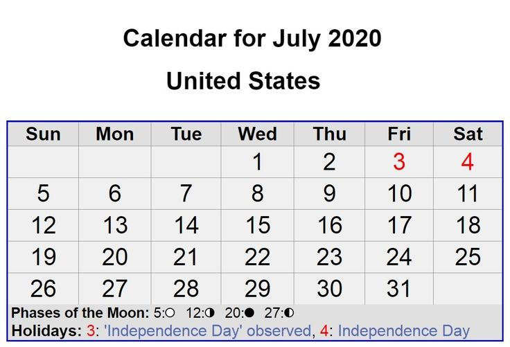 July 2020 United States Calendar With All Holidays